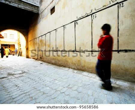 Street scene in Fes El Bali, Morocco, Africa - stock photo