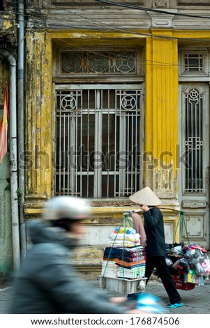 Street scene in Hanoi, Vietnam - stock photo