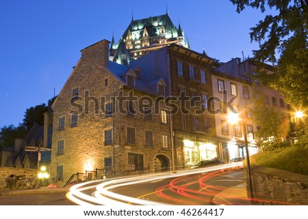 Street scene in old Quebec City Canada - stock photo