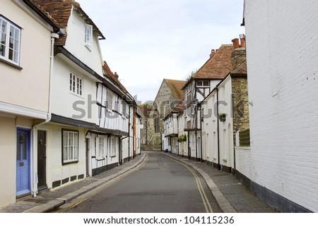 Street scene in Sandwich, Kent, UK - stock photo