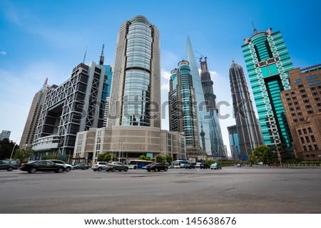 street scene of shanghai financial center,China. - stock photo