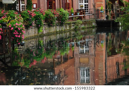 Street scene with Lauch River in Colmar in Alsace, France