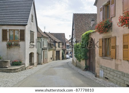street scenery in Mittelbergheim, a village of a region in France named Alsace - stock photo
