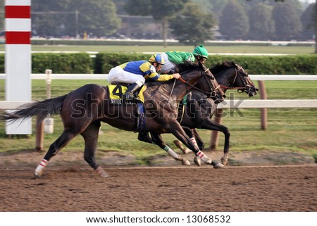 Street Sence and Grasshopper Battle at the Top of the Stretch in the 2007 Travers Stakes