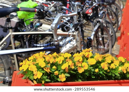 Street side flowers and bikes on a stand in Bruges, Belgium - stock photo
