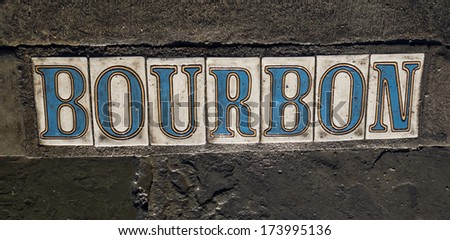 Street sign for Bourbon Street in French Quarter of New Orleans.. - stock photo