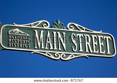 street sign for Main Street with national historic district designation - stock photo
