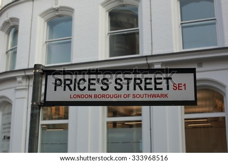 Street Sign for Prices Street in Southwark