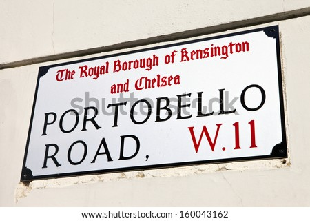 Street sign for the famous Portobello Road in London.