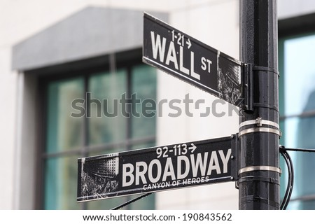 Street sign of New York Wall street and Broad street