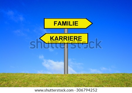 Street Sign showing career or family in german language in front of blue sky on green grass - stock photo