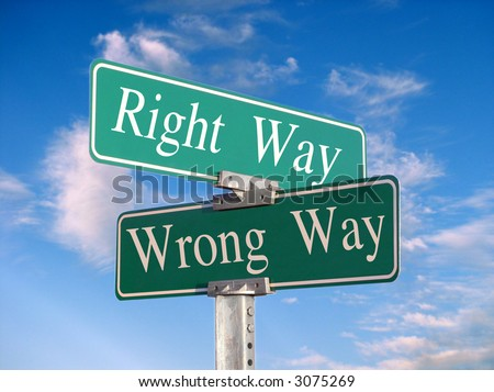 "street sign that reads ""Right Way, Wrong Way"" - stock photo"
