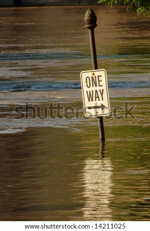 Street Sign Under Flood Water, St. Louis, Missouri - stock photo
