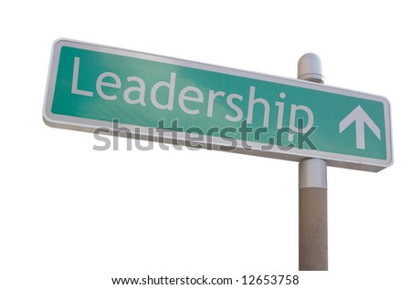 "Street sign with an arrow and the word ""leadership"" - stock photo"