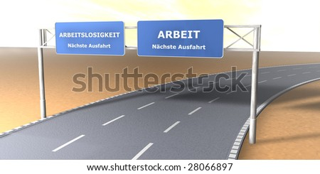 Street signs - Arbeit (hell) - stock photo