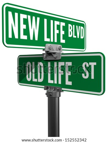 Street signs choose between New Life Boulevard or Old Life Street directions - stock photo