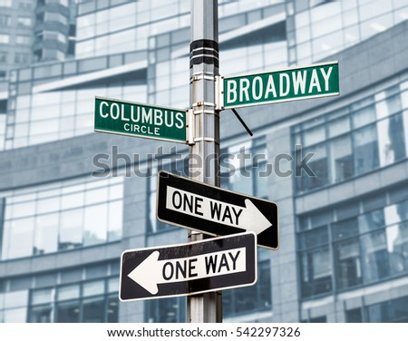 Street signs for Broadway and Columbus Circle, Manhattan, NYC