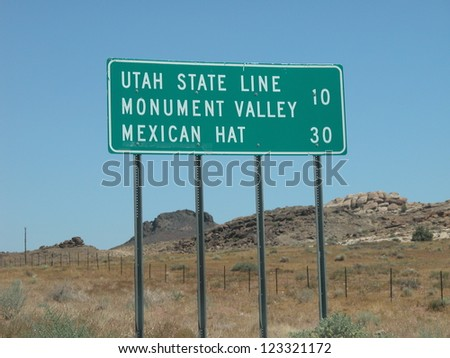Street signs in Arizona desert. - stock photo
