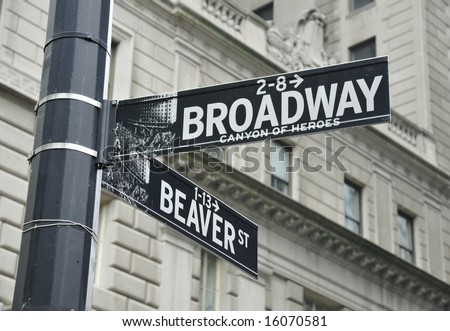 Street Signs in Lower Manhattan, NYC - stock photo
