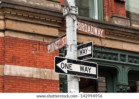 Street signs in New York, United States of America. - stock photo