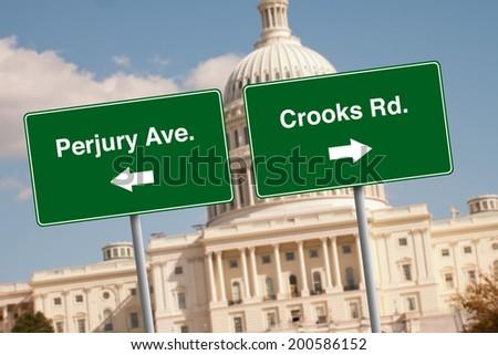 Street signs in Washington D.C. - stock photo