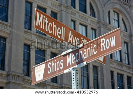 Street signs of Galveston city, Texas, America