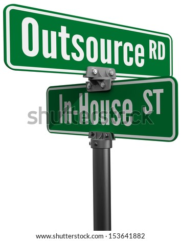 Street signs Outsource Road versus In House Street ERM supply chain business decision - stock photo