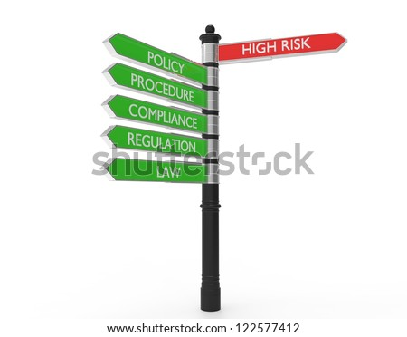 Street signs pointing in the direction of high risk or good practices. - stock photo