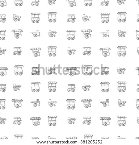 Street trade trolleys seamless vector pattern hand drawn style. Sale of fast food, coffee shop, stores. Sketch background. Doodle design elements. - stock photo