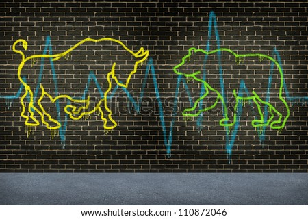Street trading market advice financial investing symbol with a graffiti texture of a bull and a bear painted on an urban street brick wall as an investment concept for selling or buying a company. - stock photo