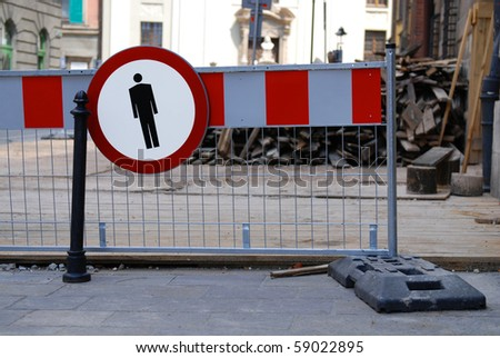 Street traffic barrier for temporary construction works - stock photo