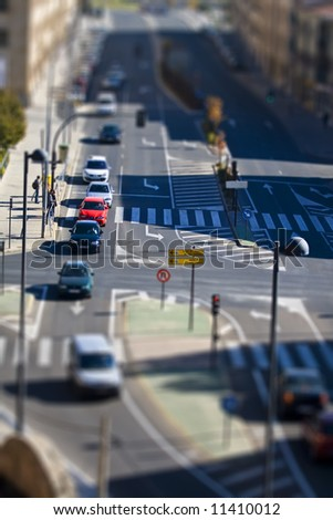 Street traffic, miniature illusion applied - stock photo