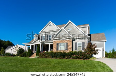 Street view in Raleigh suburb - stock photo