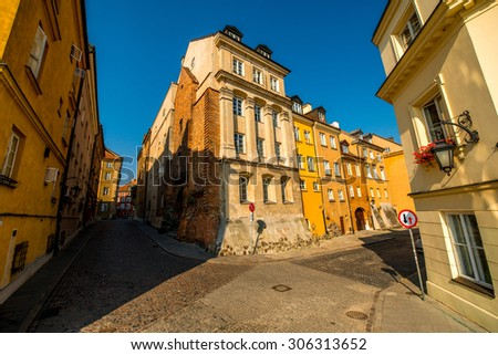 Street view in the old town in Warsaw, Poland - stock photo