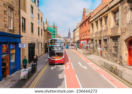 street view of Edinburgh in Scotland, UK - stock photo