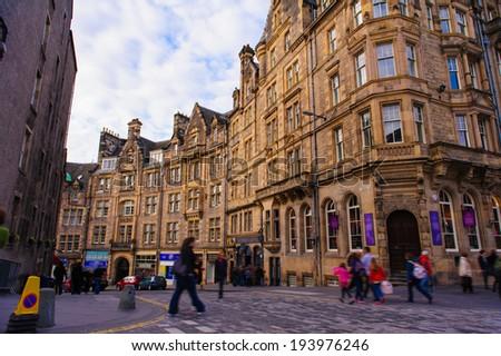 street view of Edinburgh, Scotland, UK - stock photo