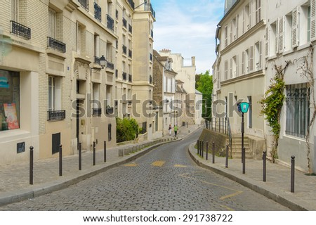 street view of Montmartre in Paris, France - stock photo