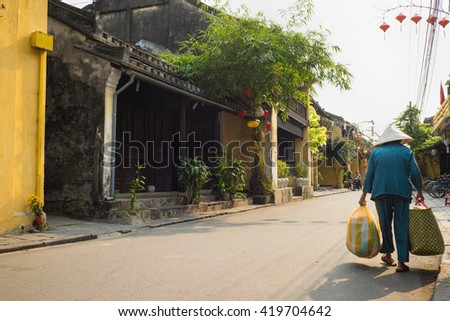 Street view with old houses in Hoi An ancient town, UNESCO world heritage. Hoi An is one of the most popular destinations in Vietnam