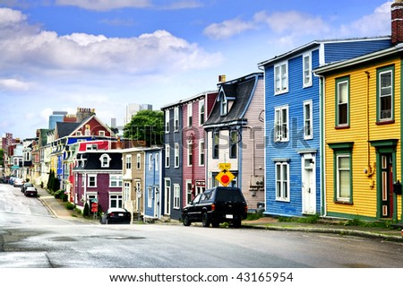 Street with colorful houses in St. John's, Newfoundland, Canada - stock photo