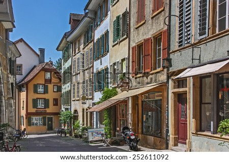 street with historical building in Biel old town, Switzerland - stock photo