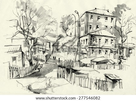Street with old houses in a small town sketch