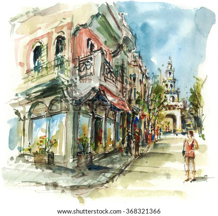 Street with people ,shopping and church tower, watercolor illustration artistic background