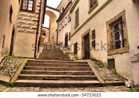 street with steps to castle