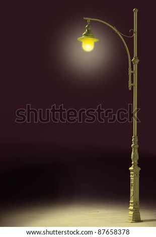 Streetlamp shines in the darkness - stock photo