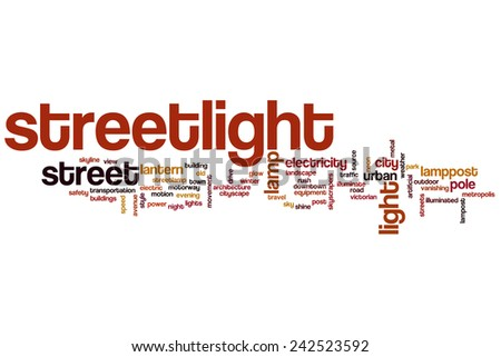 Streetlight word cloud concept with light lamp related tags - stock photo