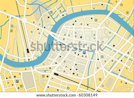 Streetmap of a generic city with no names - stock photo