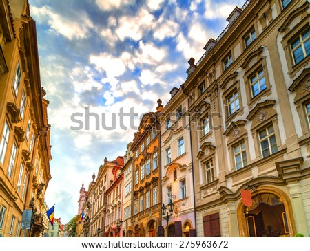 Streets and buildings of Mala Strana quarter in Prague - stock photo