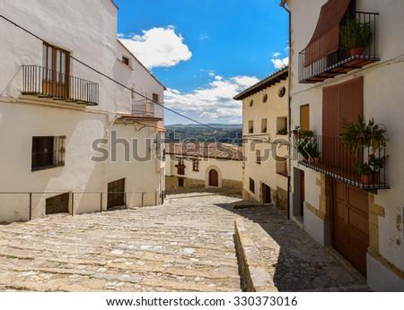 Streets near Columbus Square in Morella, the province of Castellon, Spain. - stock photo