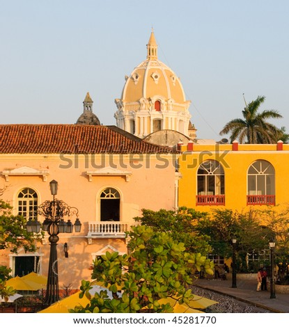 Streets of Cartagena, Colombia - stock photo