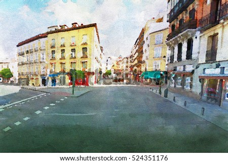 Streets of center of Madrid in watercolor
